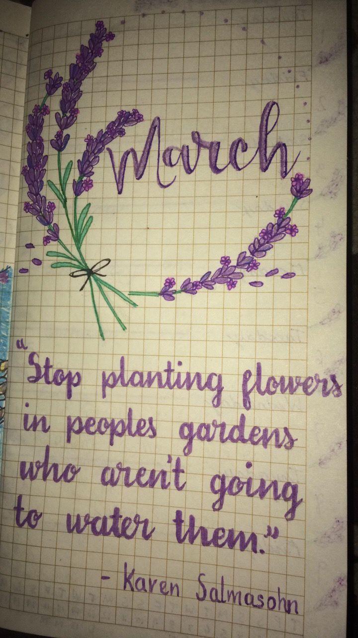 Bullet journal spread march lavender