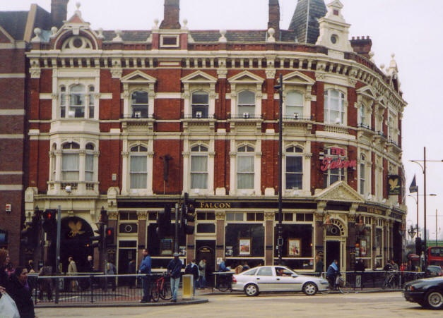 Top 10 London Pubs - The Falcon, Battersea   The Falcon sits by Clapham Junction train station (pronounced Clap + Ham, not 'Claffham') and we have to head back into the city and head south of the Thames. Built in 1887 as public house come hotel to serve the train travelers, it has an exceptionally long bar (one of the longest in the UK)  Read more: http://www.toptenz.net/top-10-london-pubs.php#ixzz2PKQMmrmC