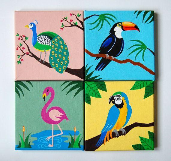 "Tropical Bird Art, dipinti originali SET di 4, Bird Nursery Decor, uccelli tropicali & esotico, Flamingo, pappagallo, pavone, Toucan, 8 ""x8"""