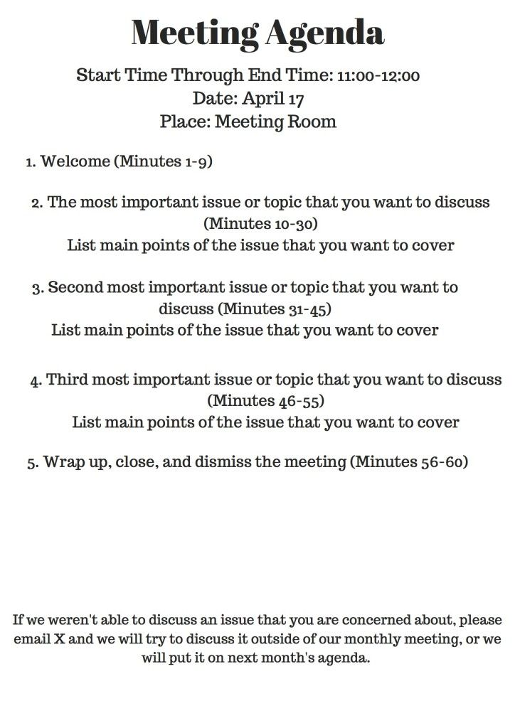 Nonprofit Meeting Agenda  Meeting Outline Template