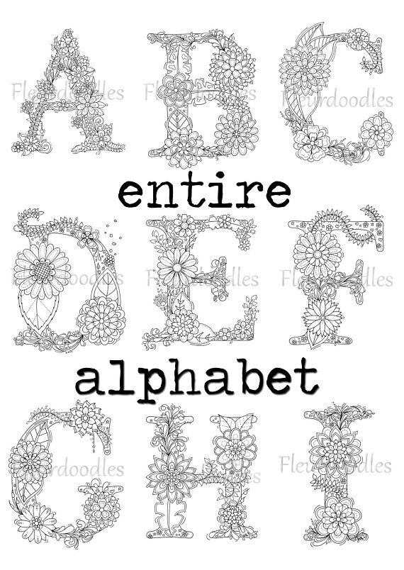 DISCOUNT - Floral Letters whole alphabet - adult coloring ...