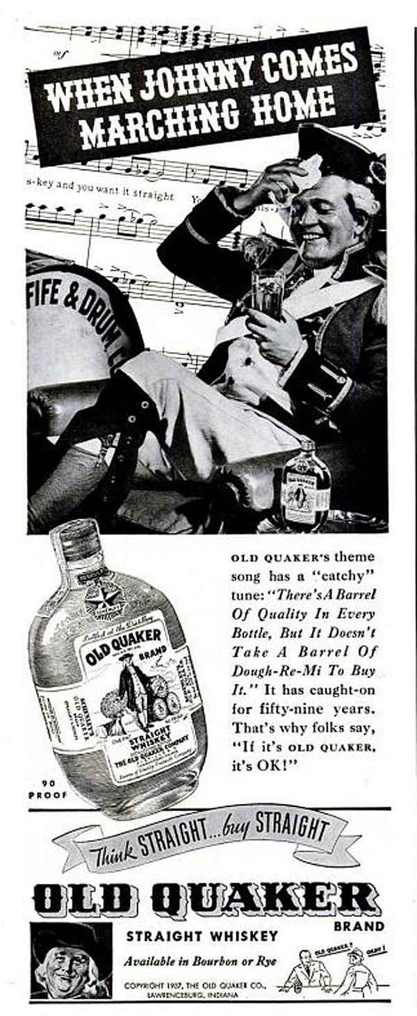 Here's a rare whiskey ad from 1937 featuring Old Quaker whiskey - available in both rye and bourbon. I especially like how large of a glass of whiskey the guy's holding in his hand.