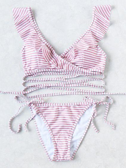 Striped Ruffle V Neck Strappy Bikini Set