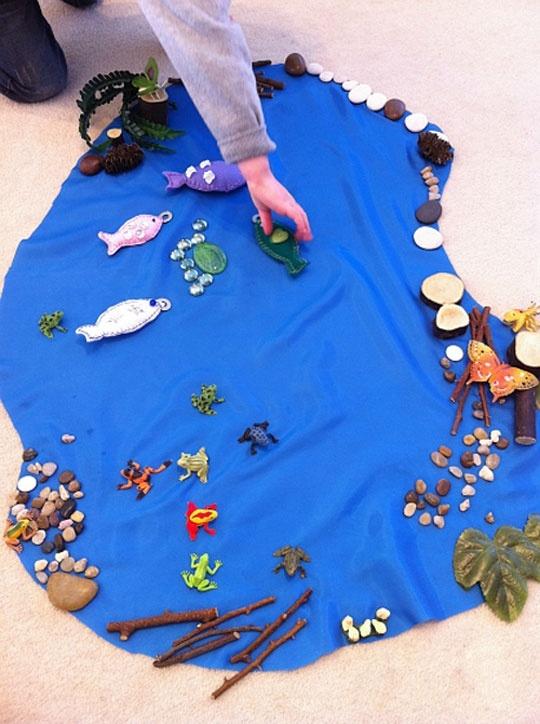 Waldorf - blue cloth. twigs, shells, pebbles