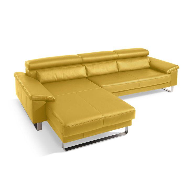 Segmüller Werkstätten Sofa Mercury, Leder gelb Gelb Leder