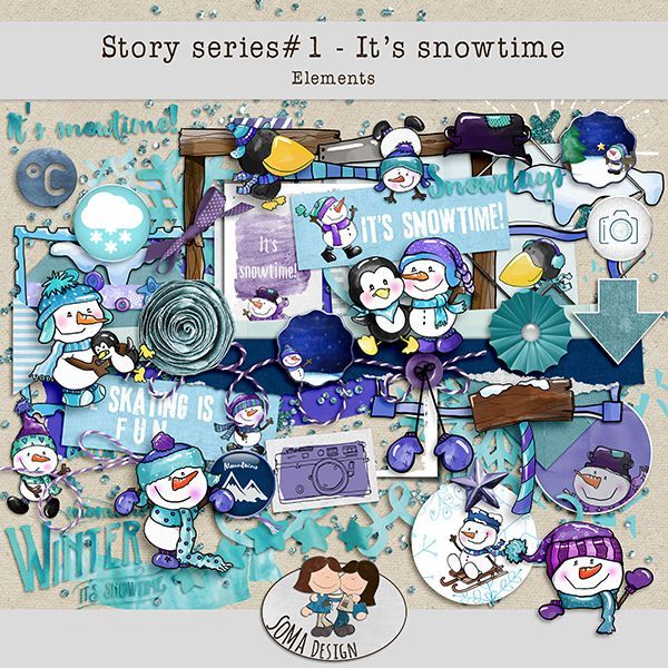 Oscraps.com :: Shop by Category :: All New :: SoMa Design: It's snowtime - Kit - Story Series #1