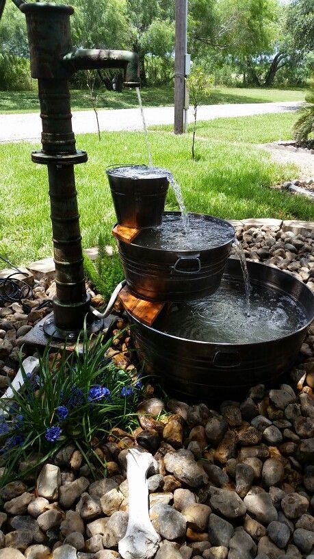 Use old 'washtub' planters and unwanted (or unusable) spigots to run your pump and create waterfalling features that are sure to wow. Built into a hillside, or planned as a stand alone, this is a weekend project that is doable for the most waterfall challenged amongst us!