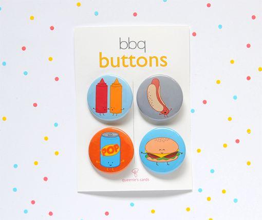 BBQ Button Set   queenie's cards