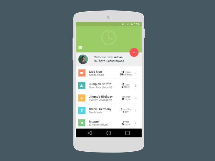 Material Design Countdown App UI (Motion) by Adrian G.
