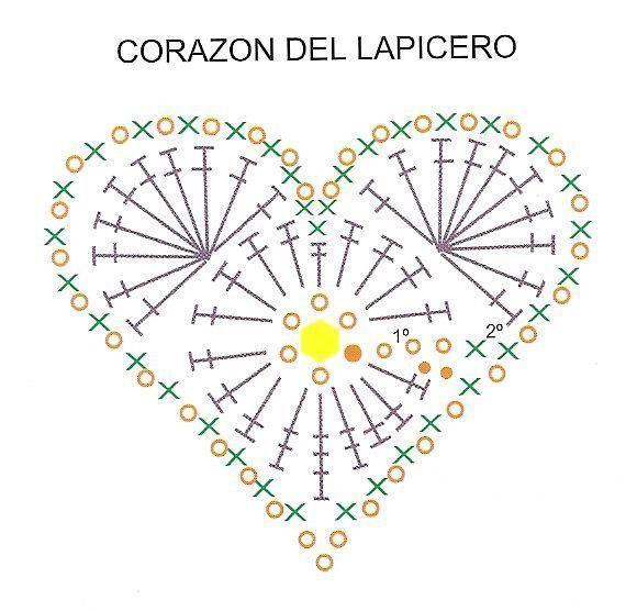 coração de crochê com gráfico                                                                                                                                                                                 Mais