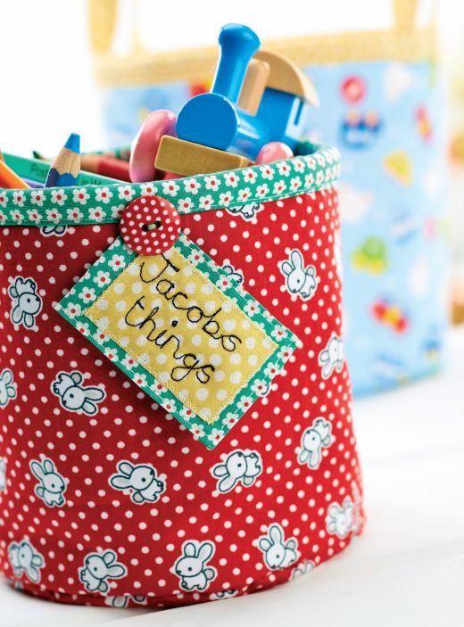 Free pattern - Fabric Toy Storage Bins