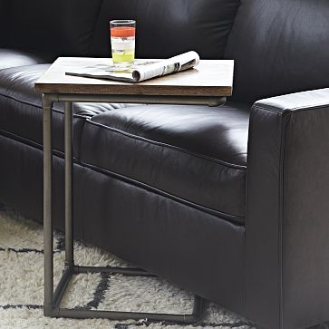 Pipe Side Table #WestElm.  This design can be copied with black or galvenized plumbing pipe and reclaimed wood.