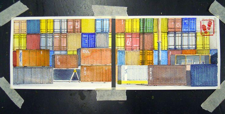 https://flic.kr/p/ChUc6L | Shipping containers | Parcheggio di containers. Mi piace molto questo disegno, fatto per il Progetto di Mail Art, ma non so perché. Le linee? I blocchi di colore? Qualche idea?    Shipping containers park. I like a lot this picture, made for Project Mail Art, but I don't know why. Lines? Blocks of colors? Any idea?