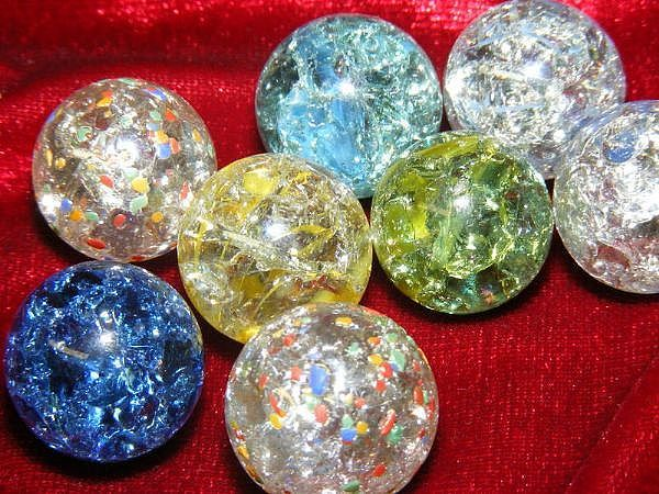 """Fry marbles on a high heat & then put into iced water. The glass inside the marbles shatters into shards & looks like shimmering crystal ("""",)"""