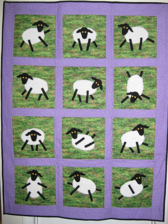 Textured Appliqued Lavendar Sheep Quilt by needleartbygals on Etsy, $190.00