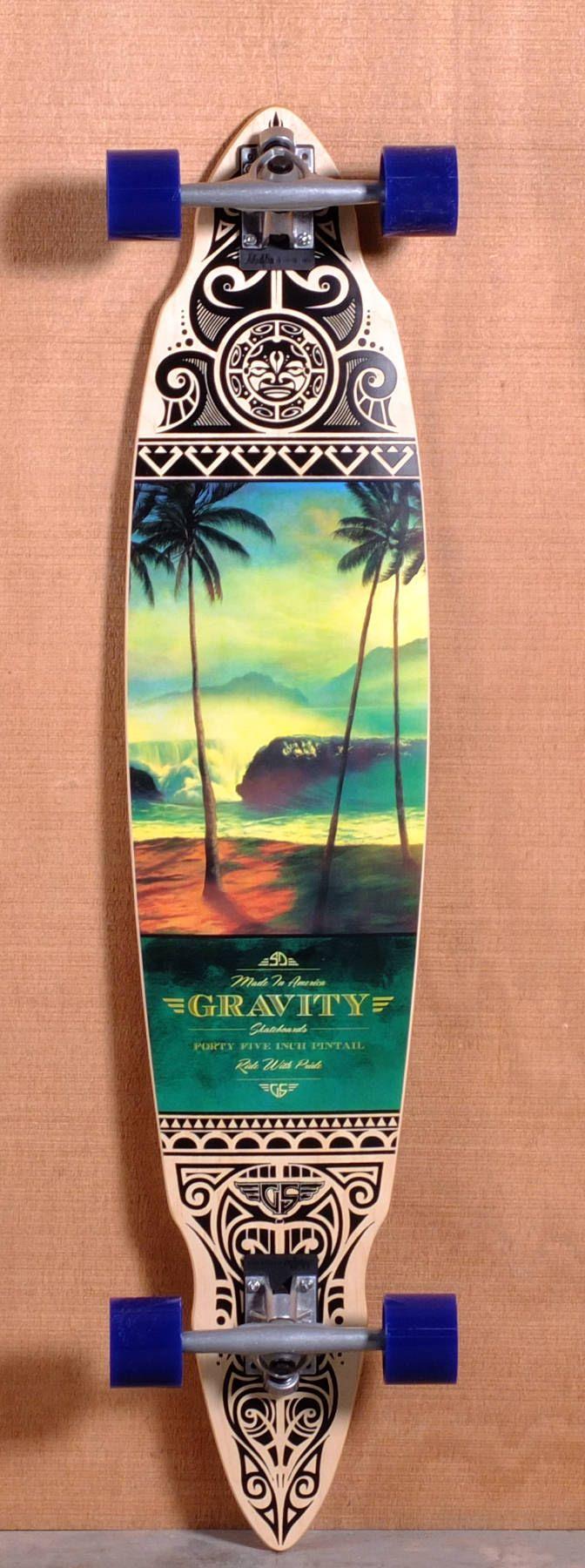 "Gravity 45"" Pintail Longboard Complete - Tres Palmas"