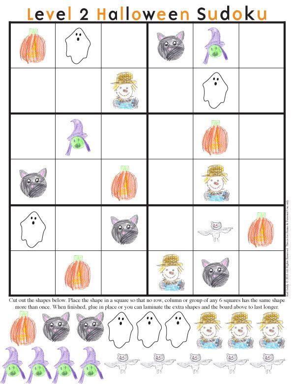 halloween sudoku printablea great ideas for a classroom party activity - Halloween Printable Crafts For Kids 2