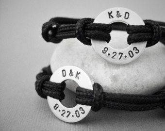 Couples matching stamped bracelets 2 Bracelets by InformalElegance