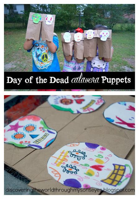 Calavera puppets are an easy craft to introduce children to the Day of the Dead. A template and suggestions for making Día de los Muertos skulls with kids.