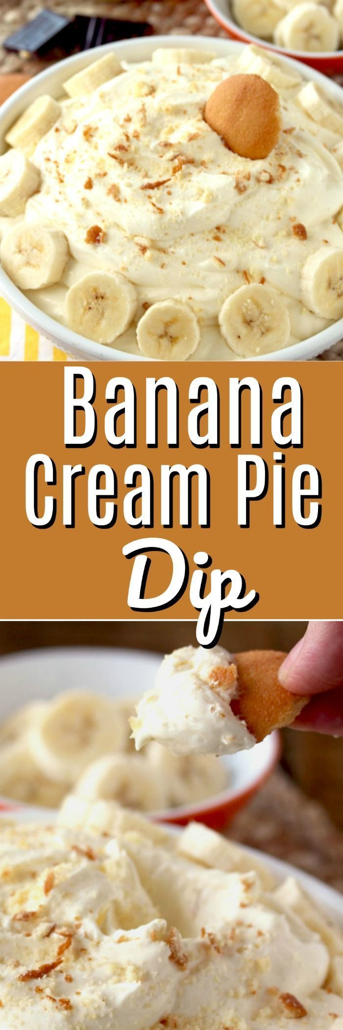 This Banana Cream Pie Dip is sweet, silky, smooth, creamy and irresistible! Everything you love in a banana cream pie recipe but in a super easy and quick dip. With only a handful of ingredients, this no-bake dip is the perfect sweet treat for just about any occasion! #creampie #banana #bananacreampie #dip #appetizer #dessert #bananapudding #nilla #nillawafers #grahamcracker #easydessert