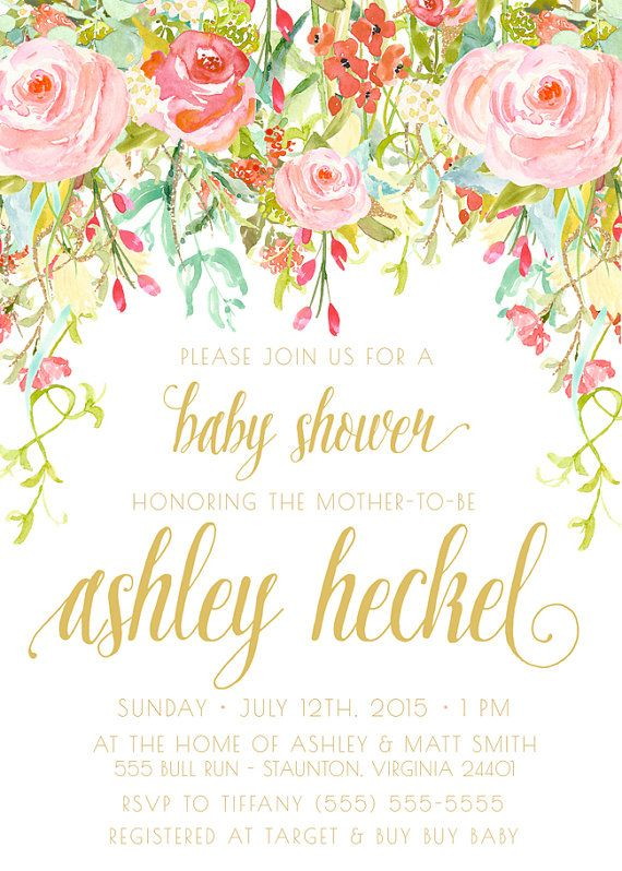 Baby Shower Flower Images ~ Girl baby shower invitation watercolor flower boho pink