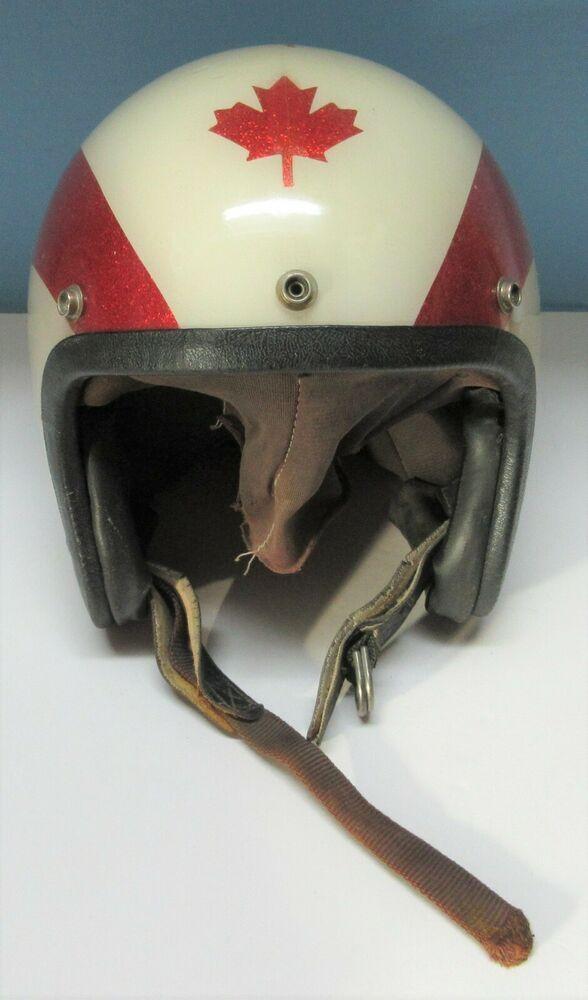 Vintage Canada Motorcycle Helmet For Parts Or Restoration Ebay In 2020 Motorcycle Helmets Red Motorcycle Yamaha Helmets