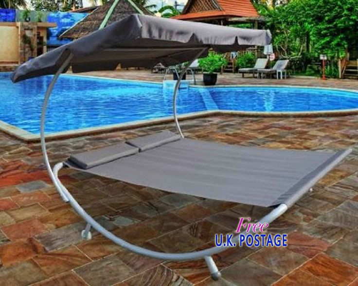 Double Hammock Bed With Stand Pillows Grey Canopy Poolside