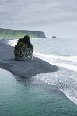 Iceland. Dyrholaey. Black Sand Beach and Sea Stack Photographic Print by Inger Hogstrom - AllPosters.co.uk
