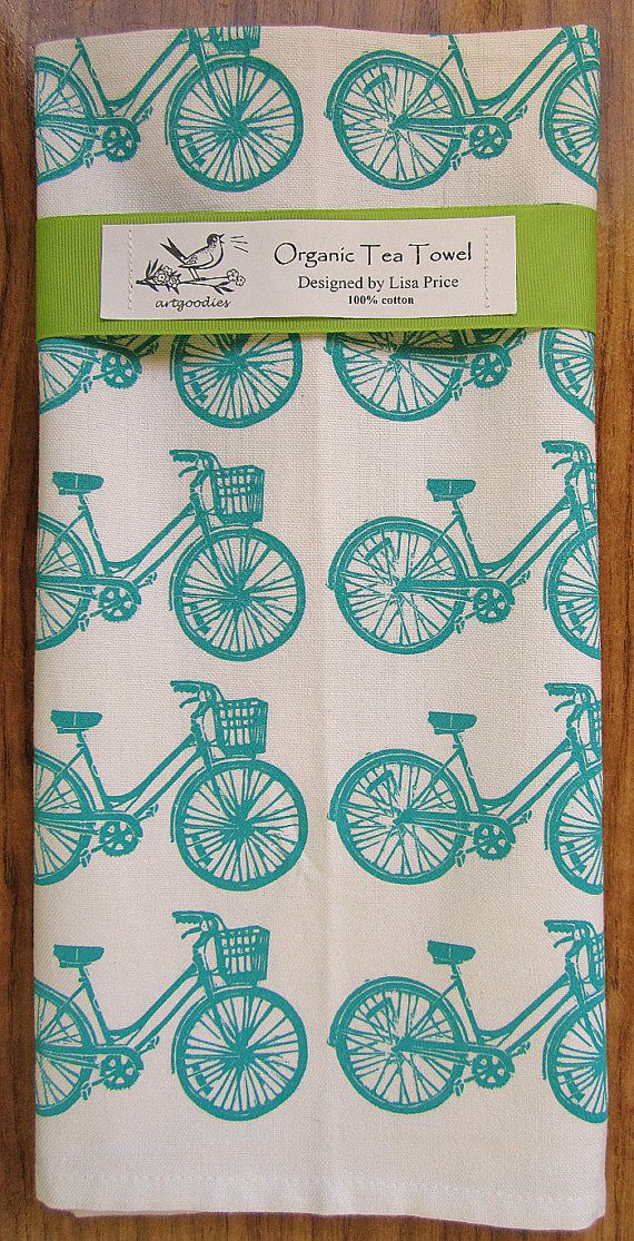 Funky turquoise tea towel to add some quirk to their kitchen :: organic bike pattern tea towel