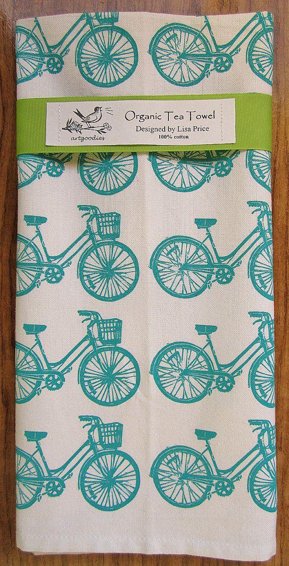 organic bike pattern tea towel Limited Edtion BLUE by artgoodies, $18.00