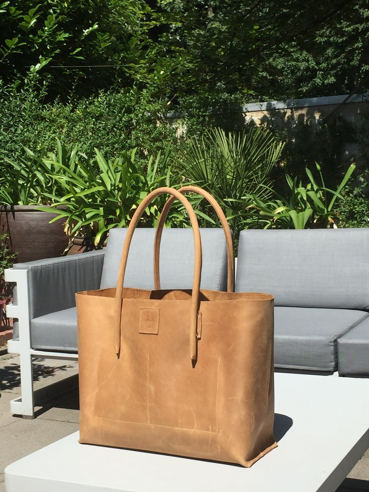 Leather shopper leather bag leather shopper leather shopping bag natural leather semi-rigid used look handmade