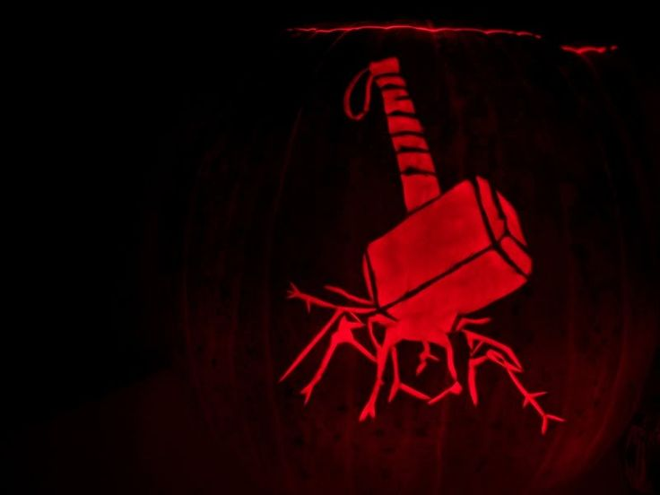 Thor hammer pumpkin carving for halloween