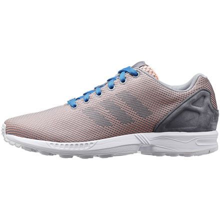 Mens Hot Adidas Originals ZX Flux Weave Glow Coral/Grey/Bahia Blue Nike USA TrainersValentine's Day