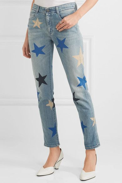 Stella McCartney - Printed Mid-rise Straight-leg Jeans - Blue - 25