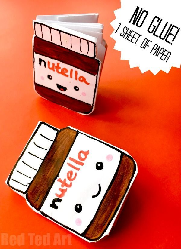Nutella Notebook DIY - you only need one sheet of paper for this cute mini notebook DIY with no glue. Turn printer paper into quirky little notebooks. A fabulous little idea for school. The kids will love it. Easy and fun to make!