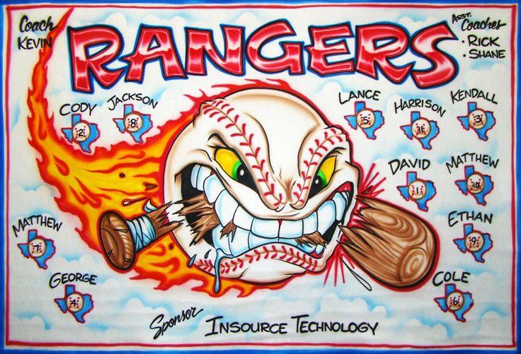 Baseball Banner - Rangers - Airbrush