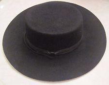 Women's Vintage Black Western Style Wool Cowboy Hat by Madcaps New York Paris