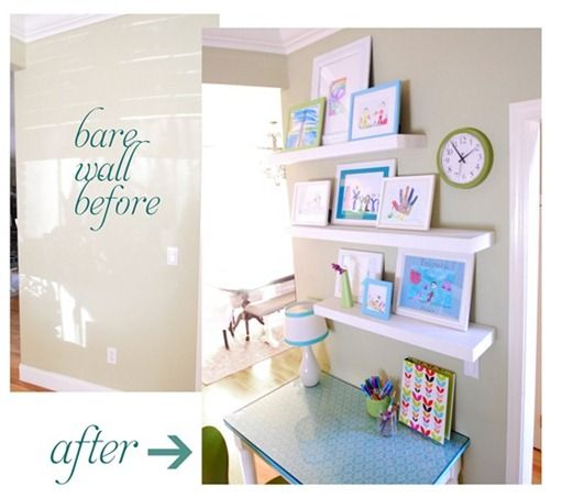 Kate utilized a hallway wall for a study desk and display shelves.