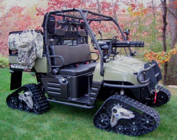 Tactical ATV Golf Cart with Tracks & Mounted Mini Gun