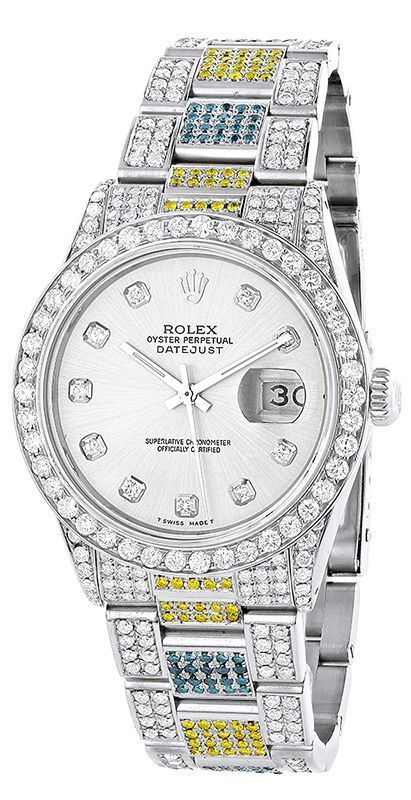 Custom White Blue Yellow Diamond Rolex Datejust Mens Watch features 5.87 carats of genuine diamonds, a brushed stainless steel case and a stainless steel band. This Rolex Mens Diamond Watch showcases a silver mother of pearl dial and a date display at the 3 oclock position.