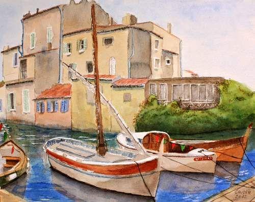"""© Gaudir13 """"Barques provençales à Martigues"""" Aquarelle 39 x 31 cm"""
