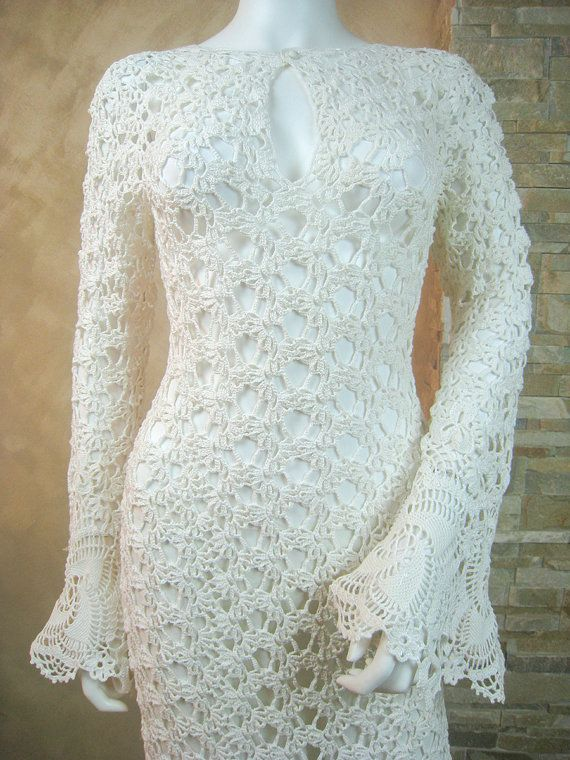 Exclusive ivory crochet wedding dress, handmade crochet bride dress, lace bridal dress - the finished product in a single original