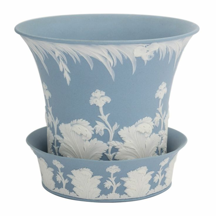 Wedgwood Blue And White Jasper Flower Pot and Underplate circa 1820