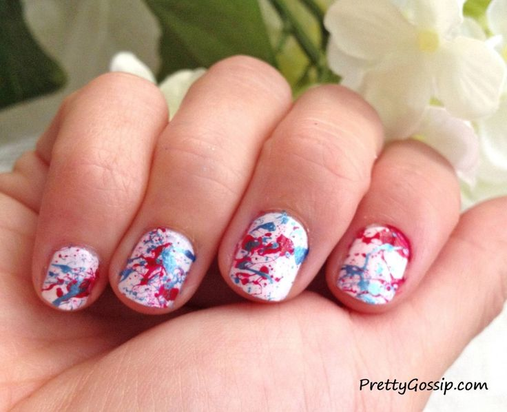 Easier Nail DIY: Splatter Paint Nails. See how I'm showing support for the Olympic trials and the 4th of July!~ www.PrettyGossip.com #nailspotting #sephora #naildiy