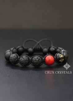 RED SPOT Lava Rock & Black Onyx Mens Bracelet Gemstone Beaded Bracelet Natural Stone Shamballa Wrap Tibetan Mantra Om Mani Padme Hum Gift