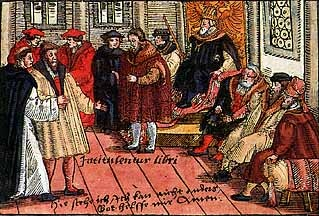 (1517) Indulgences (pardon to heaven)/95 Theses (formal statements)  Luther's teachings: Salvation by faith alone/not good works  Church teachings should be based on Bible (not false authorities)  All people of faith equal (no need for priests)
