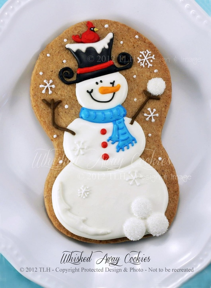 Cute snowman cookie from Whisked Away Cookies