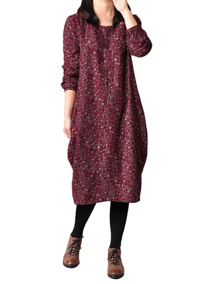 O-Newe Casual Loose Floral Printed Linen Long Sleeve Women Midi Dress