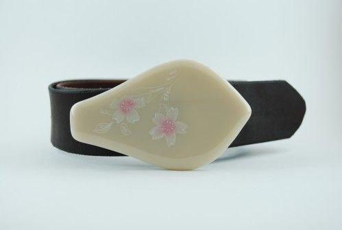 Hand-engraved cherry blossoms/ lotus petal shaped glass belt buckle