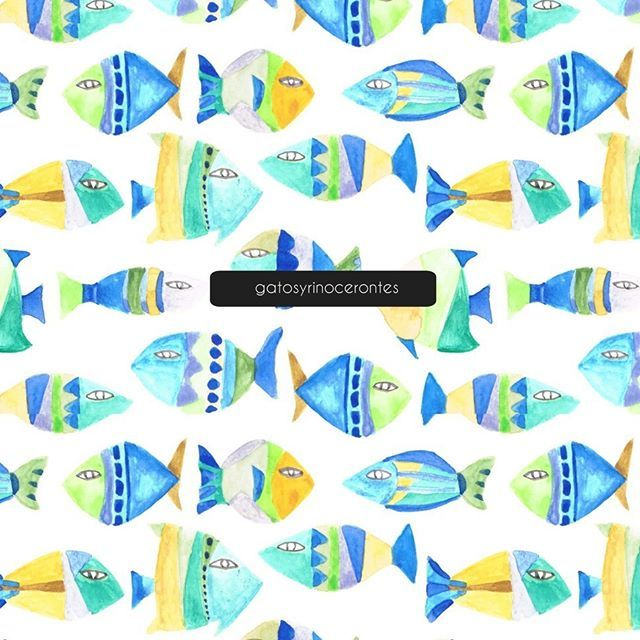 I m happy to finsh this pattern, I like so much the colors and would like to see soon in fabric. This pattern design name is sleeping fish. Peces durmientes :) #gatosyrinocerontes #surfacedesign #design #pattern #patterdesign #design #painting #handmade #watercolor #color #fish #nature